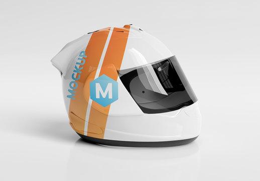 Isolated Motorcycle Helmet on White Mockup