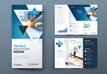 Blue Gradient Trifold Brochure Layout with Triangles