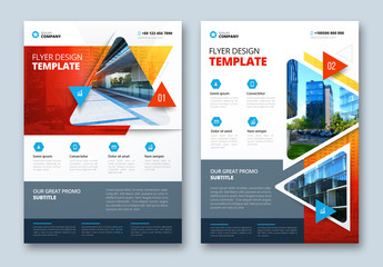 Colorful Business Flyer Layout with Triangle Elements