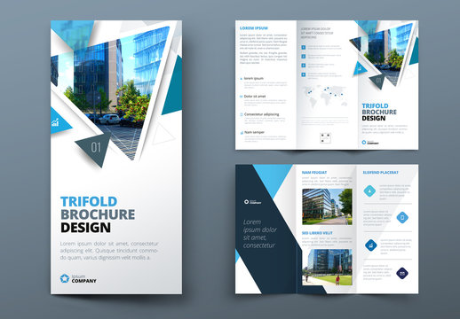 Blue Trifold Brochure Layout with Triangles