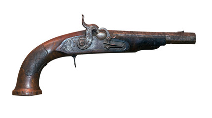 Old vintage firelock gun isolated on white background .metal musket
