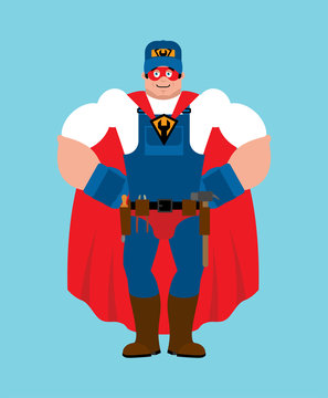 Plumber superhero. Super Fitter in mask and raincoat. Strong Service worker Serviceman