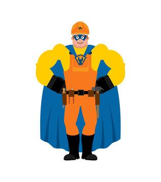 Builder superhero. Super Worker in mask and raincoat. Strong Service worker Serviceman