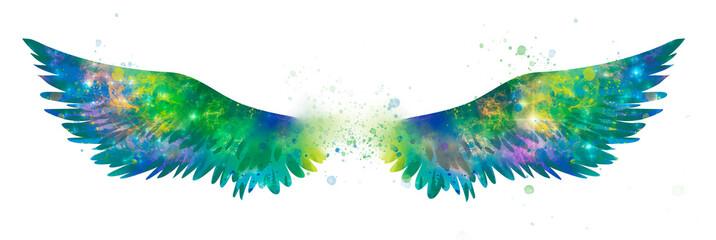 Beautiful magic watercolor wings, symbol of freedom