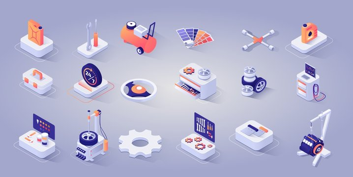 Car Repair Service Concept. Vector Isometric 3d Illustration. Icons Set of Tools, Instrument, Diagnostic Checkup Equipment, Tires, Gear, Steering Wheels, Oil or Gasoline Tank, Schedule Mode Signboard.
