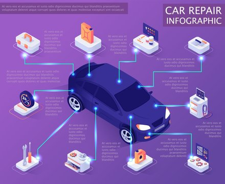 Car Repair Service Infographic. Isometric Banner Template with Information about Auto Spare Parts and System. Vector 3d Illustration with Place for Text. Maintenance and Servicing Market Concept