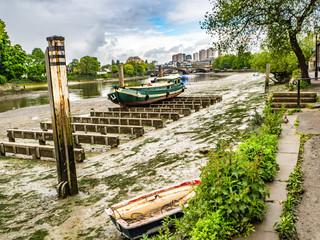View along the River Thames to Kew Bridge London