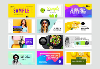 Social Media Banners Kit with Colorful Layouts