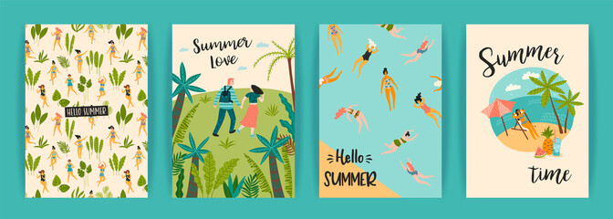Vector templates with fun summer illustration. Design element