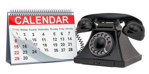 Desk calendar with phone, 3D rendering