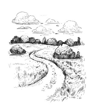 Rural landscape with road and tree. Hand drawn illustration converted to vector