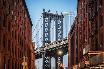 Acrylic Prints Narrow alley Dumbo - The famous Manhattan bridge between two red brick buildings in Brooklyn - New York City, NY