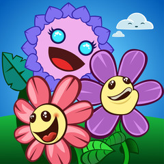 A group of three happy flowers characters with bright colors. Vector illustration