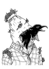 Scarecrow face with a crow in its mouth. Vector illustration