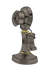 Old vintage phone in cartoon style. Vector illustration