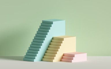 3d render, yellow blue pink stairs, steps, abstract background in pastel colors, fashion podium, minimal scene, primitive architectural blocks, design element