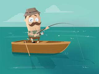 cartoon man in fishing boat