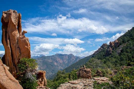 Panoramic view of Calanques de Piana natural landscape in Corsica, France.