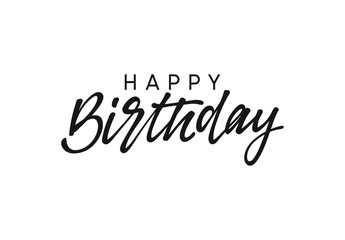 Happy birthday handwritten text lettering on white background.