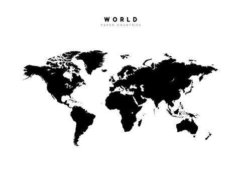 World map detailed Silhouette, Isolated on white background.