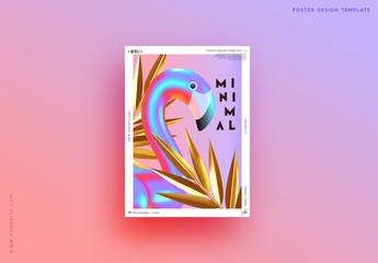 Fotomurales - Minimal Abstract Background with 3d objects, gradient bird flamingo, geometric golden shape palm leaves. Trendy banner, poster, website cover. Summer party style flyer