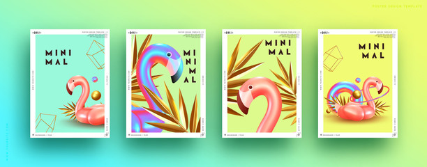 Fotomurales - Set cover poster pink flamingo and 3d objects of different shapes, gold palm leaves, geometric volume elements. Design Minimal Abstract Background. Trendy banner, page website. party style. flyer card