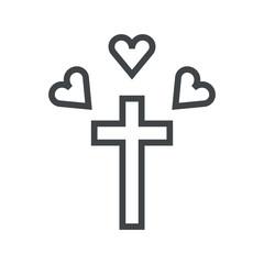 Line icon love of catholicism