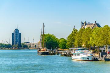 Deurstickers Turkije Riverside of New Maas in Rotterdam, Netherlands