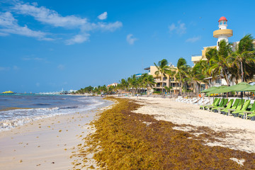 The beach at Playa del Carmen on the Mayan Riviera in Mexico