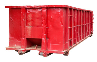 Isolated rugged red industrial dumpster.