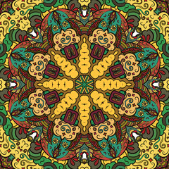 Poster de jardin Tuiles Marocaines Seamless tracery tile mehndi design. Ethnic ornament, colorful doodle symmetry texture. Folk traditional spiritual tribal design. Curved doodling motif. Color art. Vector