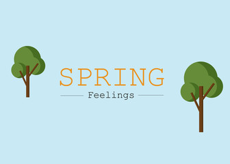 Vector Illustration to Celebrate the Spring Feelings. Minimalist Art.
