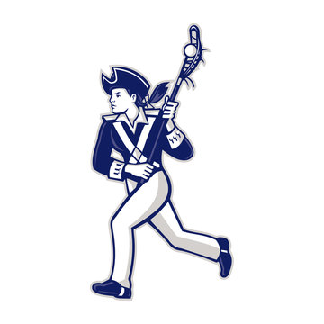 Mascot icon illustration of a female American patriot as Lacrosse player running with lacrosse stick viewed from side on isolated background in retro style.