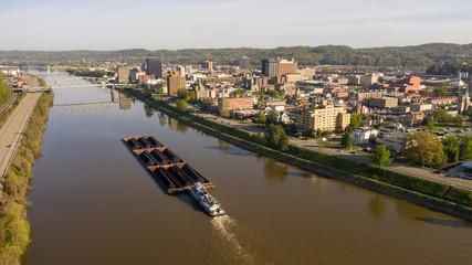 Barge Carries Coal Along Kanawha River and Charleston West Virgina
