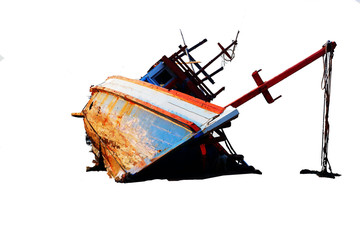 The boat capsized in the sea Separate fracture, white background