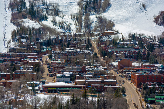 Downtown Aspen, Colorado in the Winter During the Day