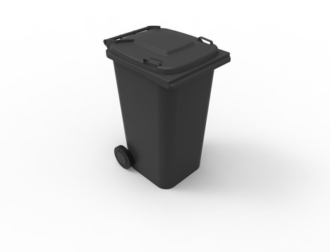 3D rendering of a black consumer trash waste bin container isolated in white studio background stimulating recycling.