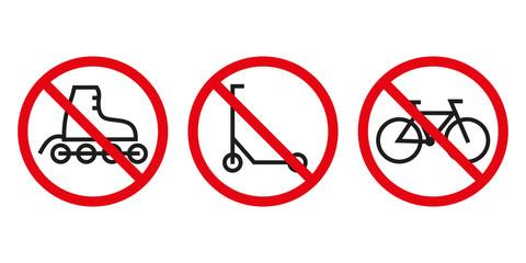 Obraz Rolki, hulajnoga i rower. Zestaw znaków zakazu wektor - fototapety do salonu