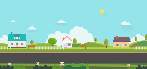 Beautiful nature landscape with houses, bench and fences background.Home with Green Hills and blue sky.Public park with nature and street.Vector illustration.Rural scene with home on street Wall mural