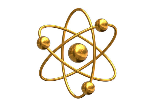3D render of abstract model of atom isolated on white background.