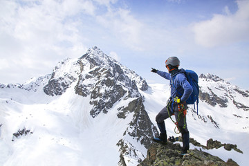 mountaineering in the snowy mountains Wall mural