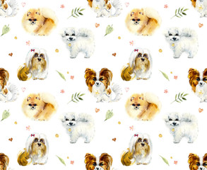 Cartoon small dogs. Watercolor hand drawn illustration