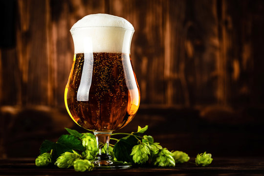 beer glass on dark wooden background