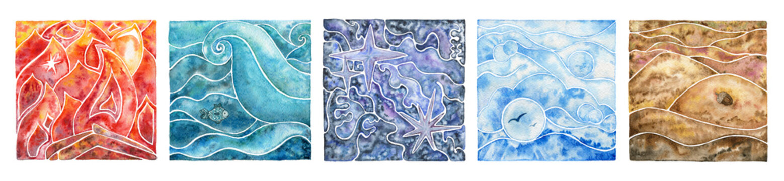 Five natural elements: fire, water, ether, air and earth. Abstract mosaic composition with natural elements. Watercolor illustration set.