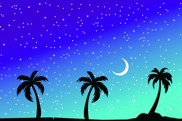 Tropical palm trees silhouette. Summer night minimal background