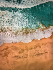 Beautiful panoramic birds eye view on ocean waves, Fuerteventura