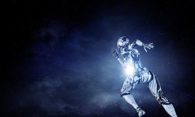 Cyborg silver running woman. Mixed media