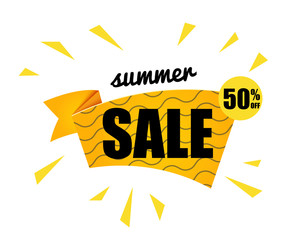 The yellow sun with the summer sale text isolated on white background. Vector summer illustration elements for poster, banner or flyers.