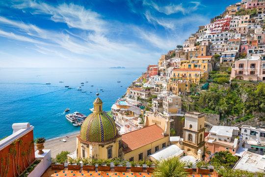 Beautiful Positano, Amalfi Coast in Campania, Italy.