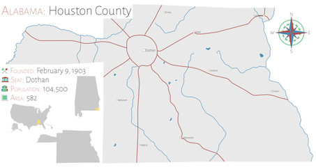 Large and detailed map of Houston county in Alabama, USA
